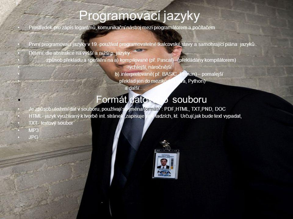Programovací jazyky Prostředek pro zápis logaritmů, komunikační nástroj mezi programátorem a počítačem První programovací jazyky v 19.-používat progra