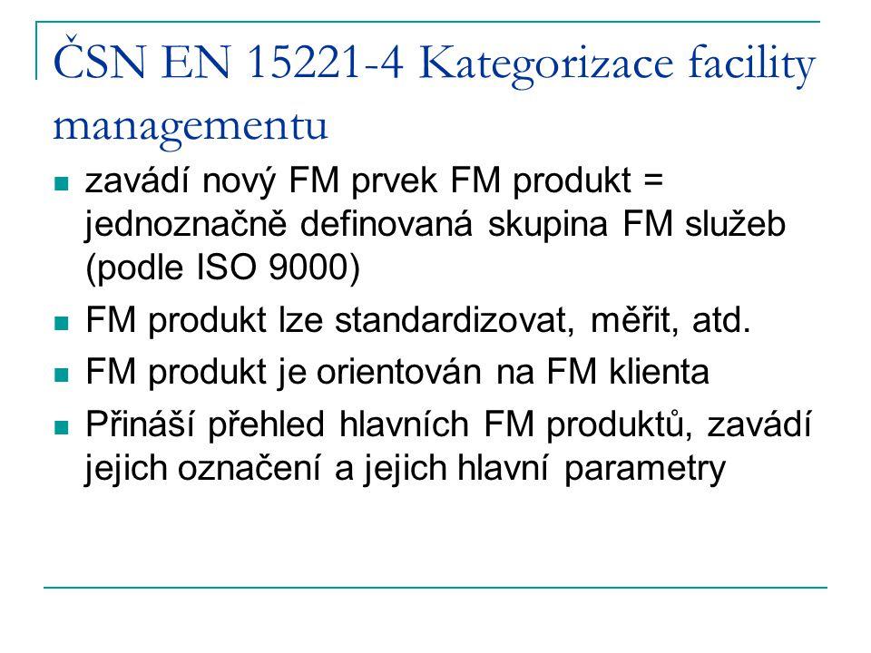 ČSN EN 15221-4 Kategorizace facility managementu zavádí nový FM prvek FM produkt = jednoznačně definovaná skupina FM služeb (podle ISO 9000) FM produkt lze standardizovat, měřit, atd.