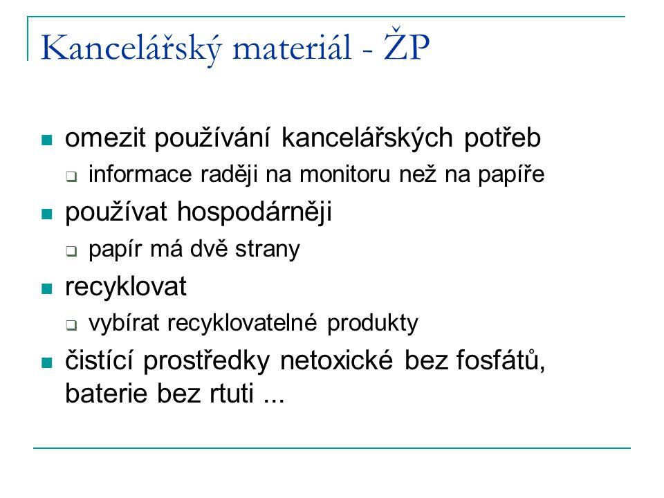 Kancelářský materiál - ŽP omezit používání kancelářských potřeb  informace raději na monitoru než na papíře používat hospodárněji  papír má dvě strany recyklovat  vybírat recyklovatelné produkty čistící prostředky netoxické bez fosfátů, baterie bez rtuti...