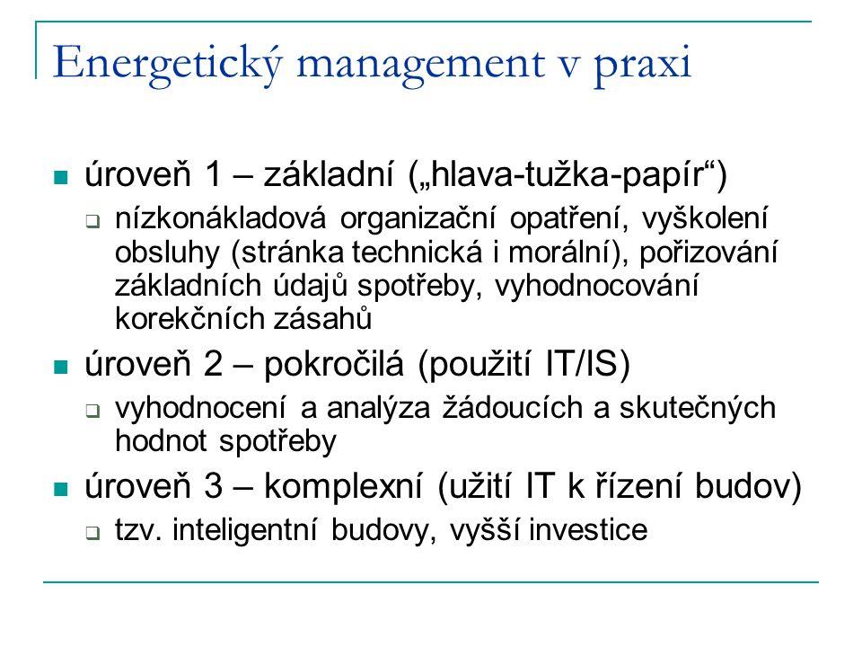 """Energetický management v praxi úroveň 1 – základní (""""hlava-tužka-papír )  nízkonákladová organizační opatření, vyškolení obsluhy (stránka technická i morální), pořizování základních údajů spotřeby, vyhodnocování korekčních zásahů úroveň 2 – pokročilá (použití IT/IS)  vyhodnocení a analýza žádoucích a skutečných hodnot spotřeby úroveň 3 – komplexní (užití IT k řízení budov)  tzv."""