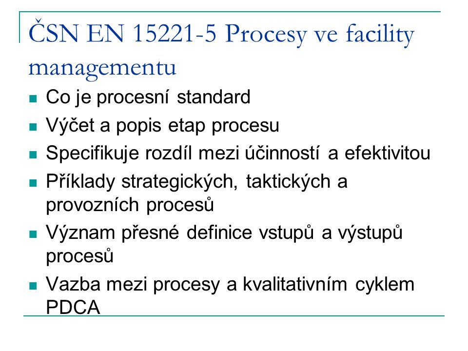 ČSN EN 15221-5 Procesy ve facility managementu Co je procesní standard Výčet a popis etap procesu Specifikuje rozdíl mezi účinností a efektivitou Příklady strategických, taktických a provozních procesů Význam přesné definice vstupů a výstupů procesů Vazba mezi procesy a kvalitativním cyklem PDCA