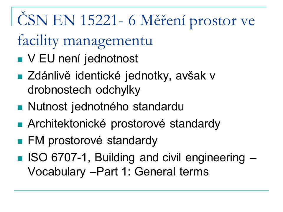 ČSN EN 15221- 6 Měření prostor ve facility managementu V EU není jednotnost Zdánlivě identické jednotky, avšak v drobnostech odchylky Nutnost jednotného standardu Architektonické prostorové standardy FM prostorové standardy ISO 6707-1, Building and civil engineering – Vocabulary –Part 1: General terms