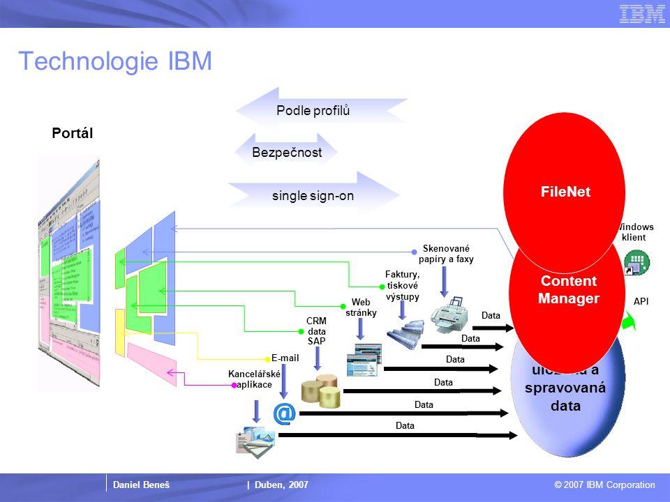Daniel Beneš | Duben, 2007 © 2007 IBM Corporation Proč IBM a Content Management.