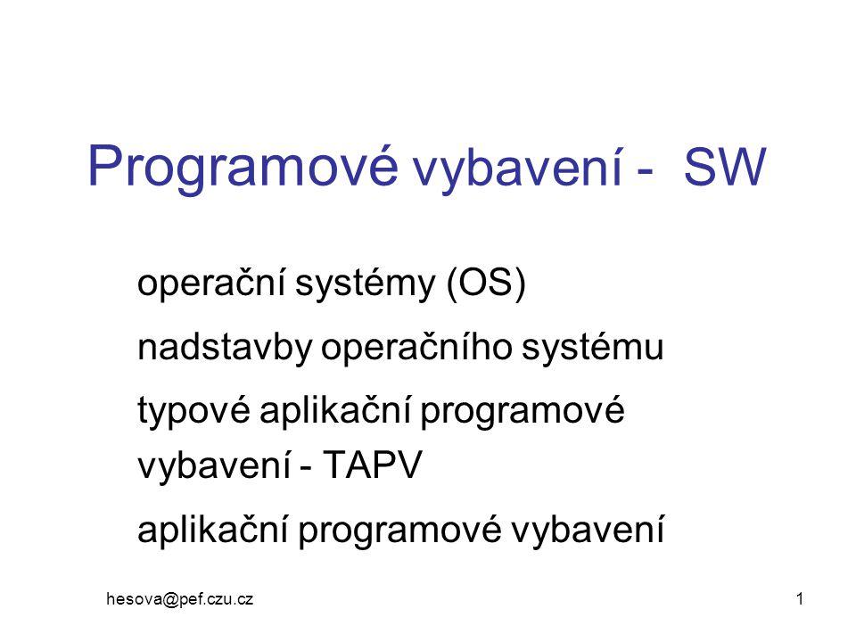 hesova@pef.czu.cz 2 Jiné dělení SW (Žid a kol.) Podle oblasti použití (podle funkcí) –základní SW (ZSW) OS, DBS, SW pro vývoj programů, SW pro komunikaci, utility (pomocné programy) middleware (technologický SW) - spolupráce počítačů v modelu klient-server –prostředky podporující osobní informatiku (kancelářské systémy) –aplikační SW řízení výroby, prodeje, účetnictví, GIS, EDI