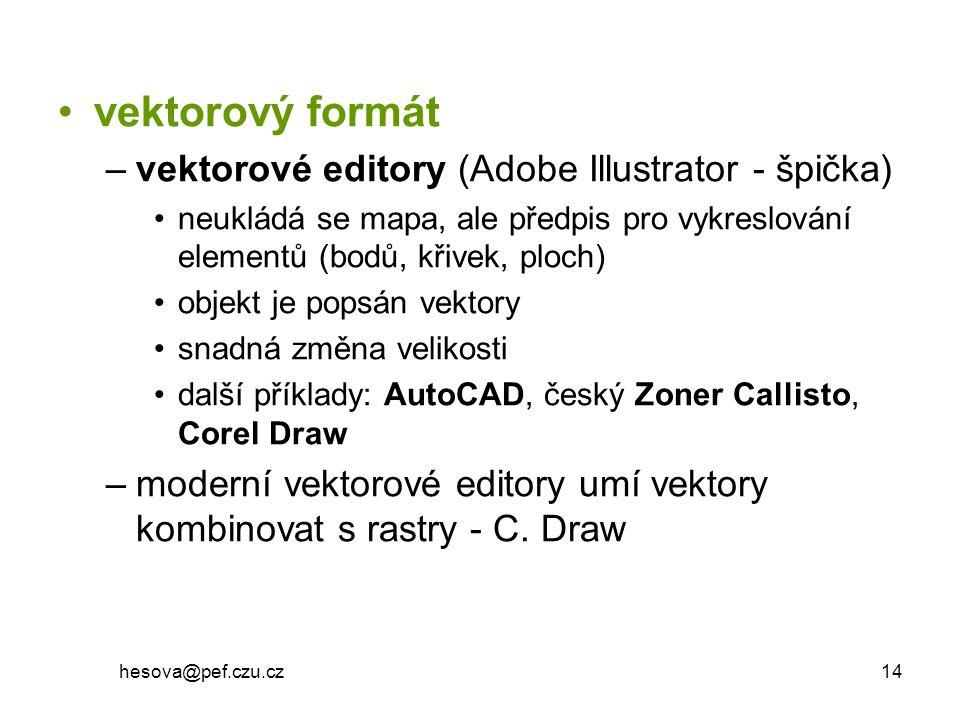 hesova@pef.czu.cz 14 vektorový formát –vektorové editory (Adobe Illustrator - špička) neukládá se mapa, ale předpis pro vykreslování elementů (bodů, k