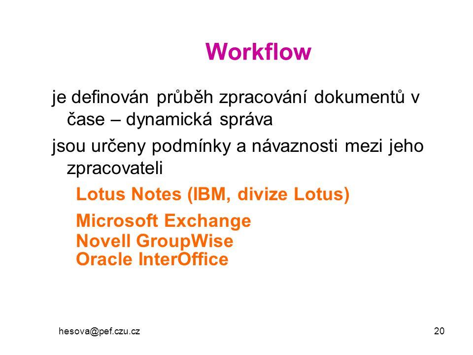hesova@pef.czu.cz 20 Workflow je definován průběh zpracování dokumentů v čase – dynamická správa jsou určeny podmínky a návaznosti mezi jeho zpracovat