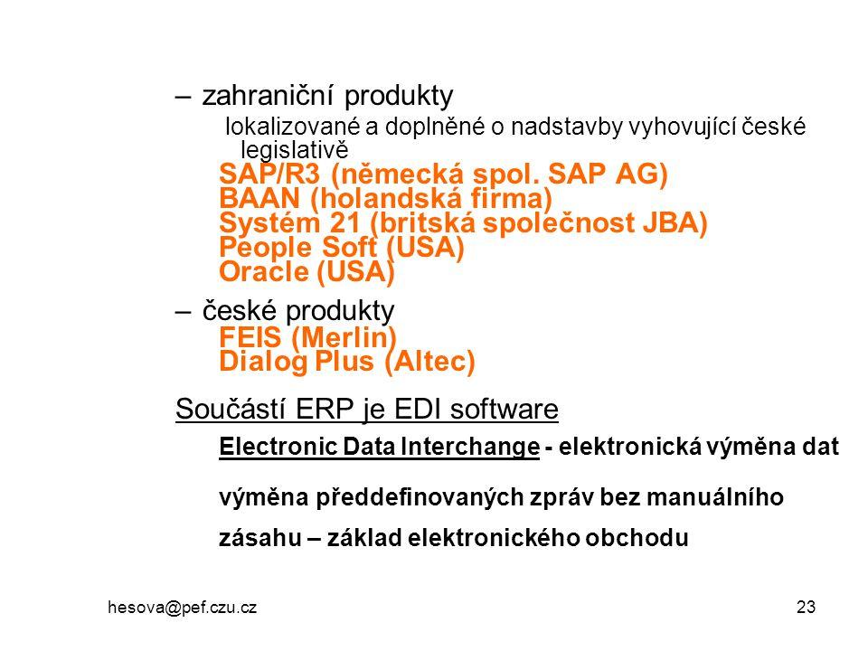 hesova@pef.czu.cz 23 –zahraniční produkty lokalizované a doplněné o nadstavby vyhovující české legislativě SAP/R3 (německá spol. SAP AG) BAAN (holands