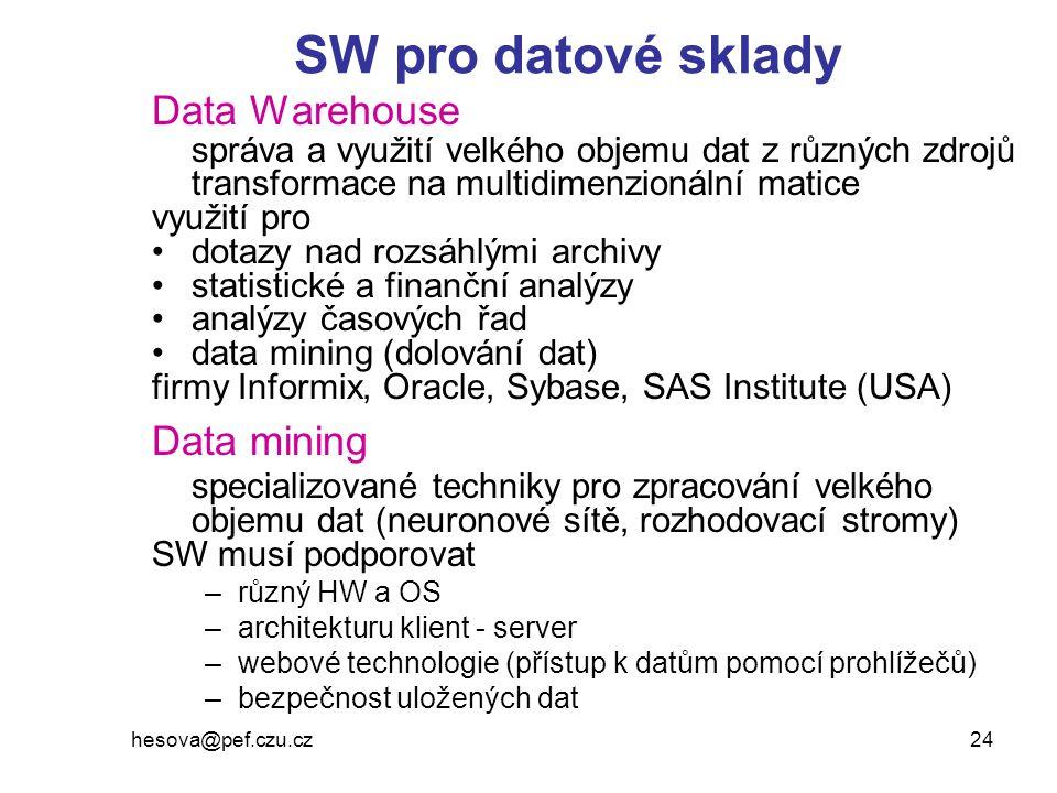hesova@pef.czu.cz 24 SW pro datové sklady Data Warehouse správa a využití velkého objemu dat z různých zdrojů transformace na multidimenzionální matic