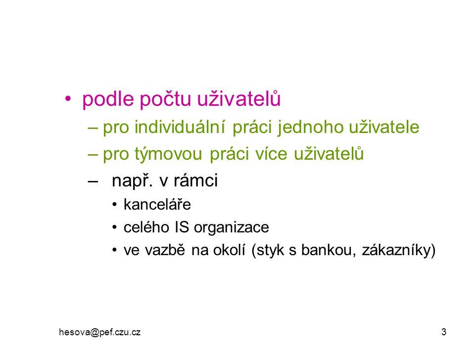 hesova@pef.czu.cz 3 podle počtu uživatelů –pro individuální práci jednoho uživatele –pro týmovou práci více uživatelů –např. v rámci kanceláře celého