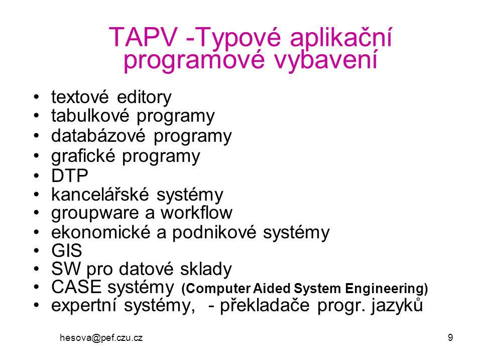 hesova@pef.czu.cz 9 TAPV -Typové aplikační programové vybavení textové editory tabulkové programy databázové programy grafické programy DTP kancelářsk