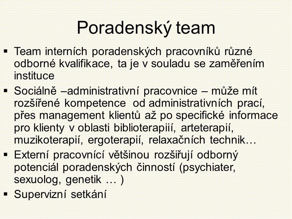 Poradenský team  Team interních poradenských pracovníků různé odborné kvalifikace, ta je v souladu se zaměřením instituce  Sociálně –administrativní
