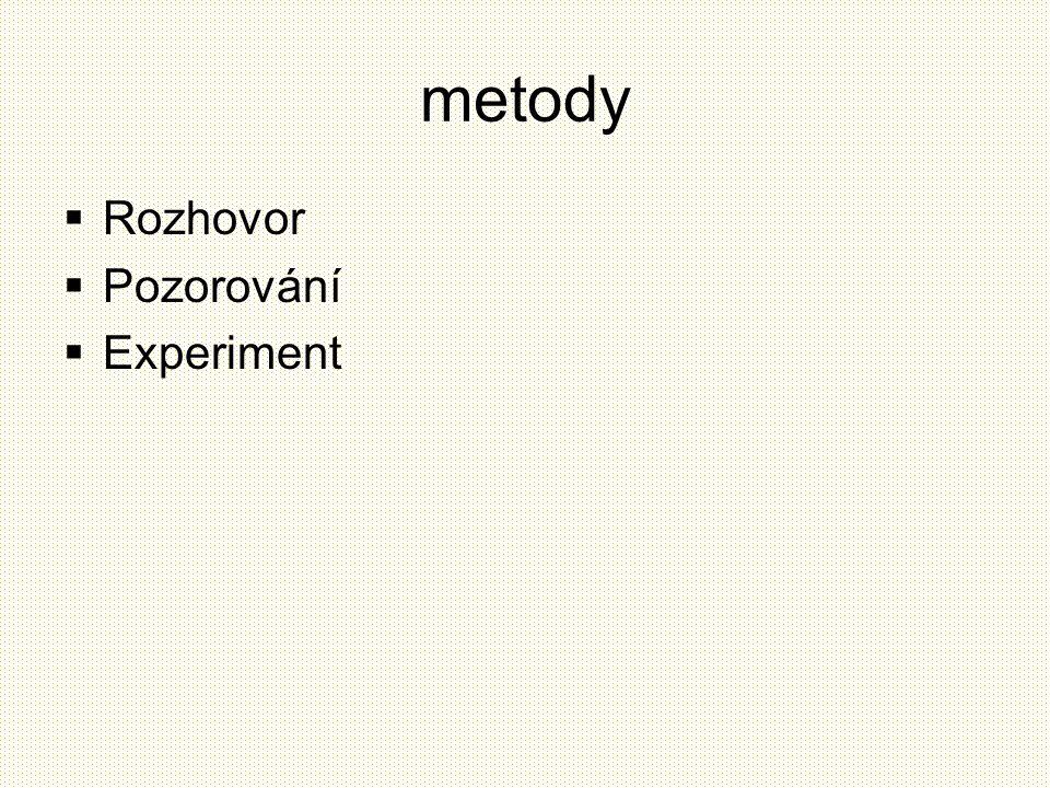metody  Rozhovor  Pozorování  Experiment