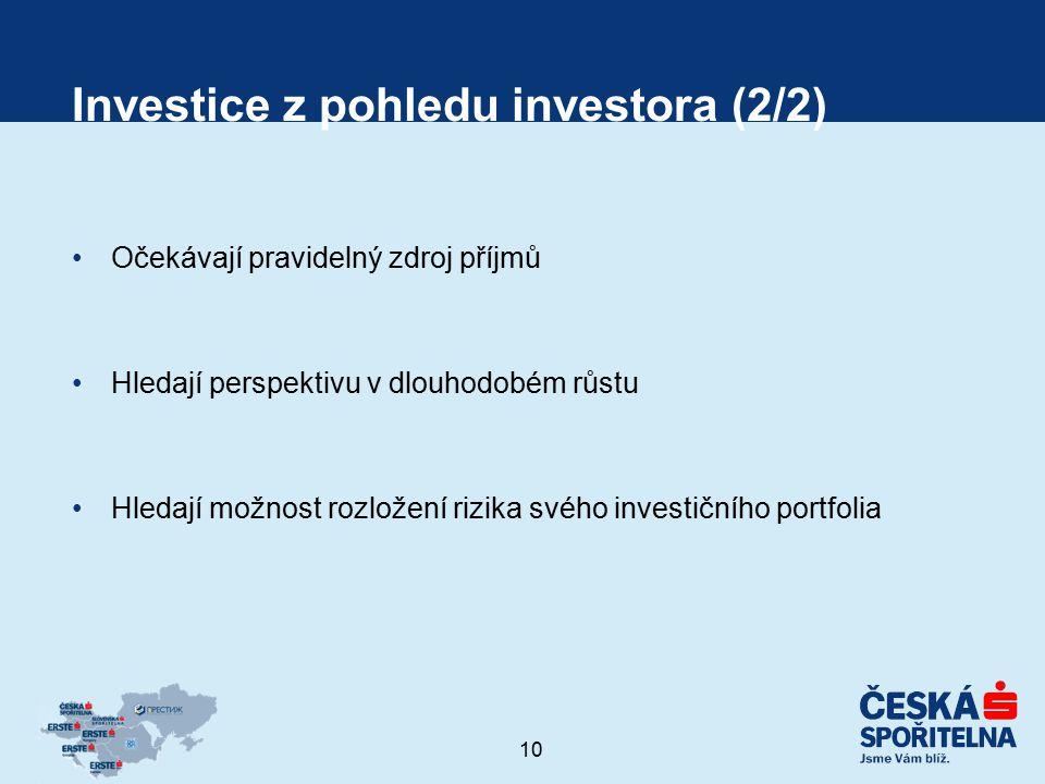 10 Investice z pohledu investora (2/2) Očekávají pravidelný zdroj příjmů Hledají perspektivu v dlouhodobém růstu Hledají možnost rozložení rizika svéh