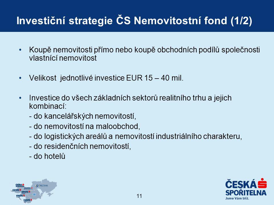 11 Investiční strategie ČS Nemovitostní fond (1/2) Koupě nemovitosti přímo nebo koupě obchodních podílů společnosti vlastnící nemovitost Velikost jedn
