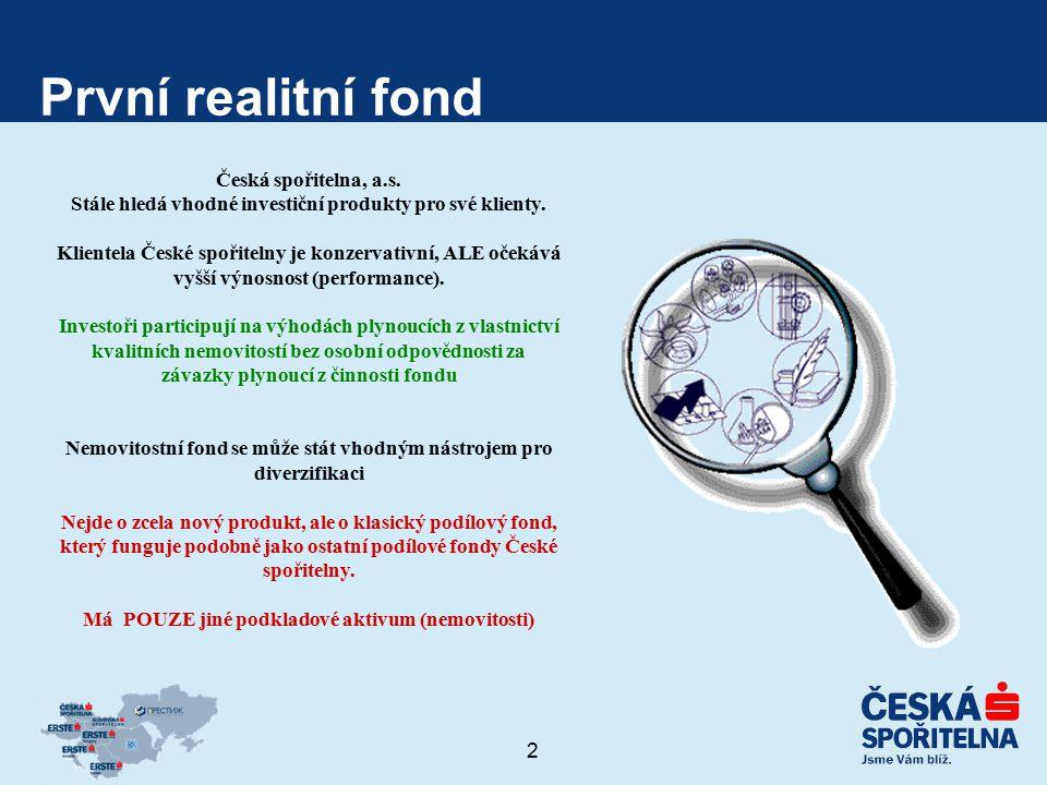 2 První realitní fond Česká spořitelna, a.s. Stále hledá vhodné investiční produkty pro své klienty. Klientela České spořitelny je konzervativní, ALE
