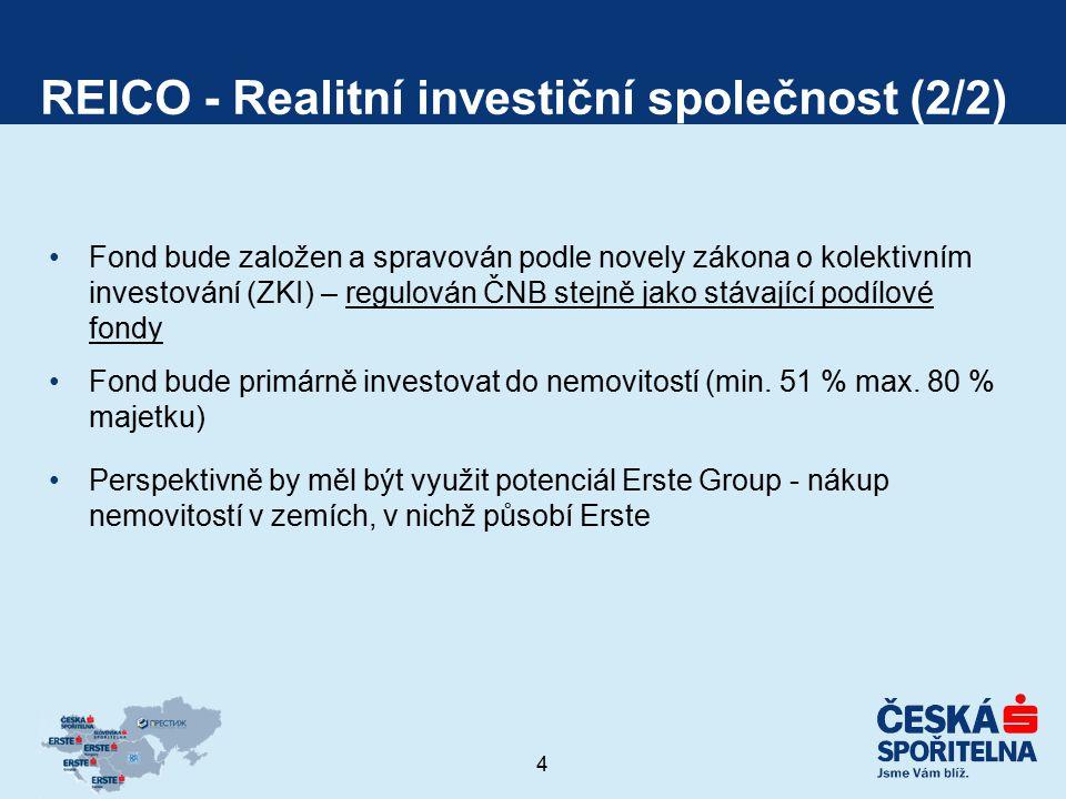 4 REICO - Realitní investiční společnost (2/2) Fond bude založen a spravován podle novely zákona o kolektivním investování (ZKI) – regulován ČNB stejn