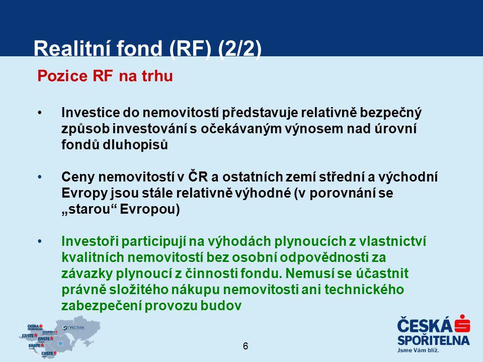 6 Realitní fond (RF) (2/2) Pozice RF na trhu Investice do nemovitostí představuje relativně bezpečný způsob investování s očekávaným výnosem nad úrovn