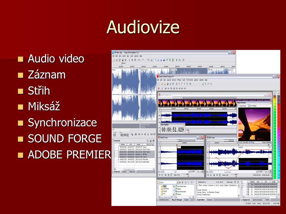 Audiovize Audio video Audio video Záznam Záznam Střih Střih Miksáž Miksáž Synchronizace Synchronizace SOUND FORGE SOUND FORGE ADOBE PREMIER ADOBE PREM