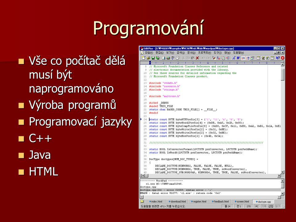 Programování Vše co počítač dělá musí být naprogramováno Vše co počítač dělá musí být naprogramováno Výroba programů Výroba programů Programovací jazy