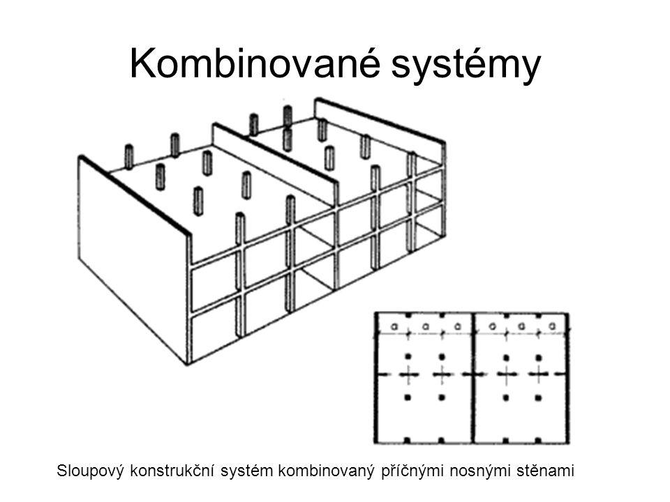 Kombinované systémy Sloupový konstrukční systém kombinovaný příčnými nosnými stěnami