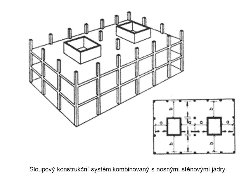Sloupový konstrukční systém kombinovaný s nosnými stěnovými jádry