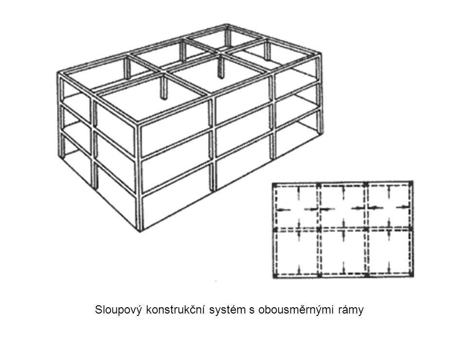 Sloupový konstrukční systém s obousměrnými rámy