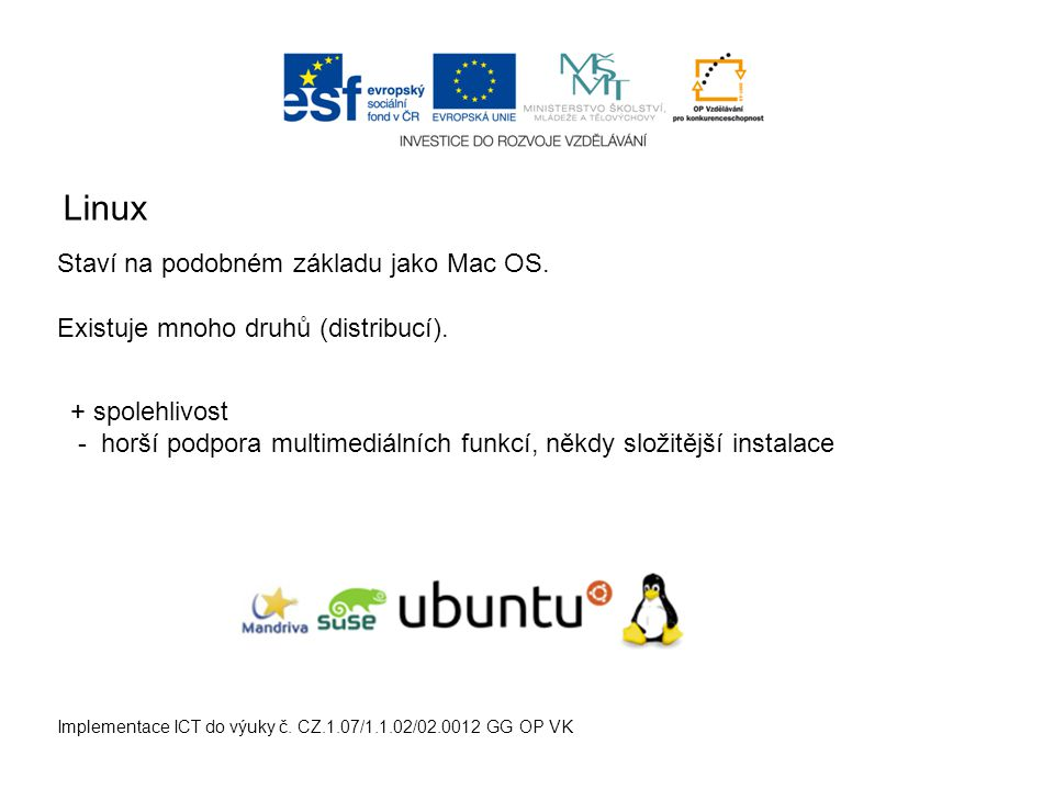 Linux Implementace ICT do výuky č.