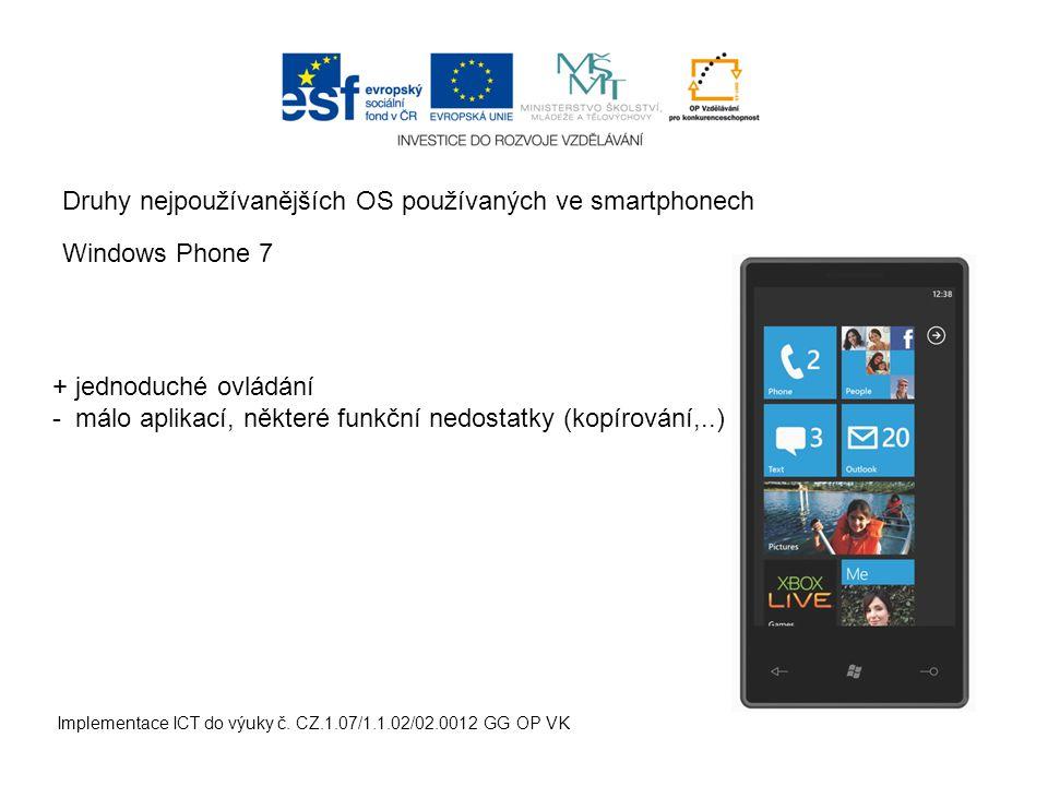Druhy nejpoužívanějších OS používaných ve smartphonech Implementace ICT do výuky č.