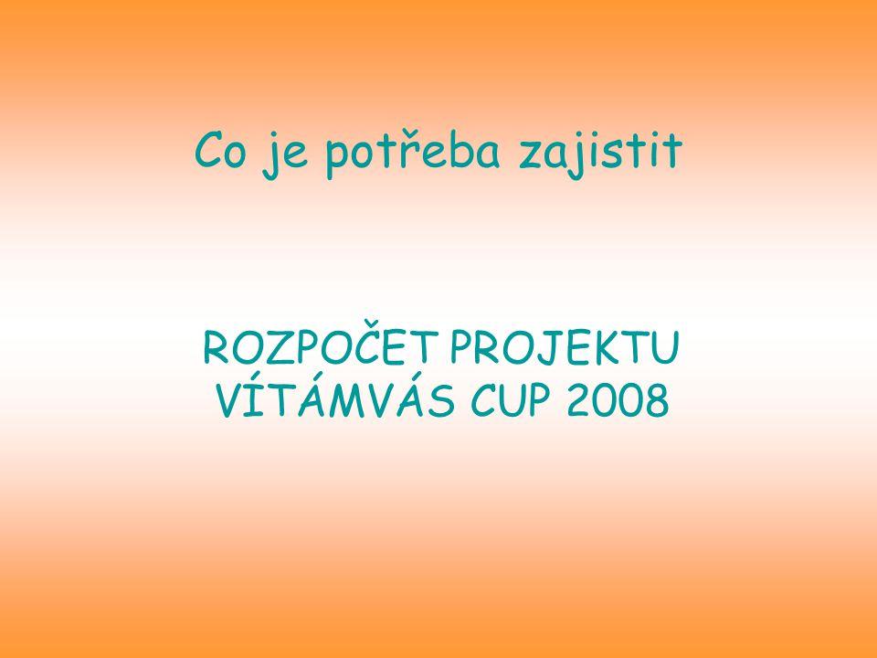 Co je potřeba zajistit ROZPOČET PROJEKTU VÍTÁMVÁS CUP 2008