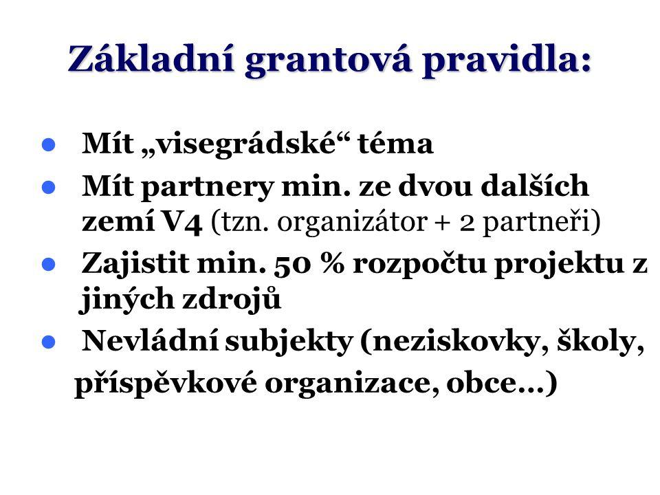 """Mít """"visegrádské"""" téma Mít partnery min. ze dvou dalších zemí V4 (tzn. organizátor + 2 partneři) Zajistit min. 50 % rozpočtu projektu z jiných zdrojů"""