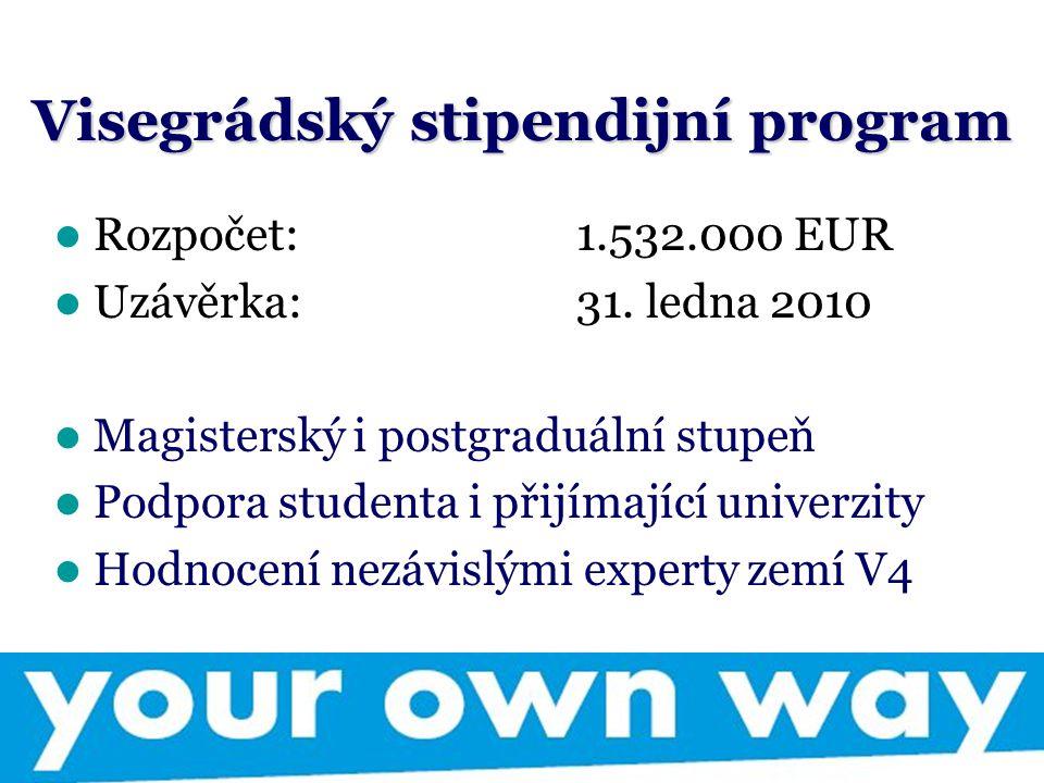 Visegrádský stipendijní program Rozpočet: 1.532.000 EUR Uzávěrka: 31. ledna 2010 Magisterský i postgraduální stupeň Podpora studenta i přijímající uni