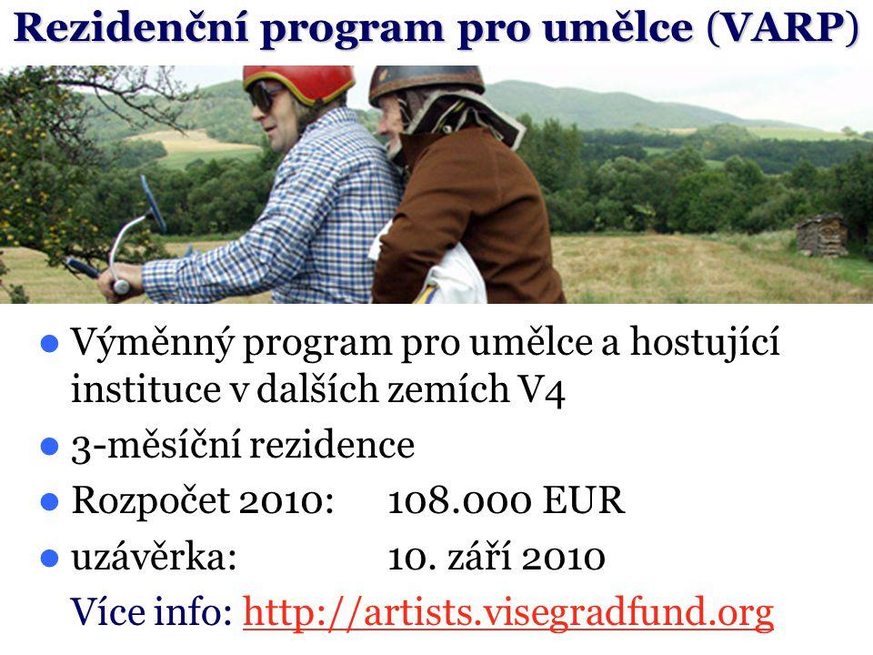 Výměnný program pro umělce a hostující instituce v dalších zemích V4 3-měsíční rezidence Rozpočet 2010:108.000 EUR uzávěrka:10. září 2010 Více info: h