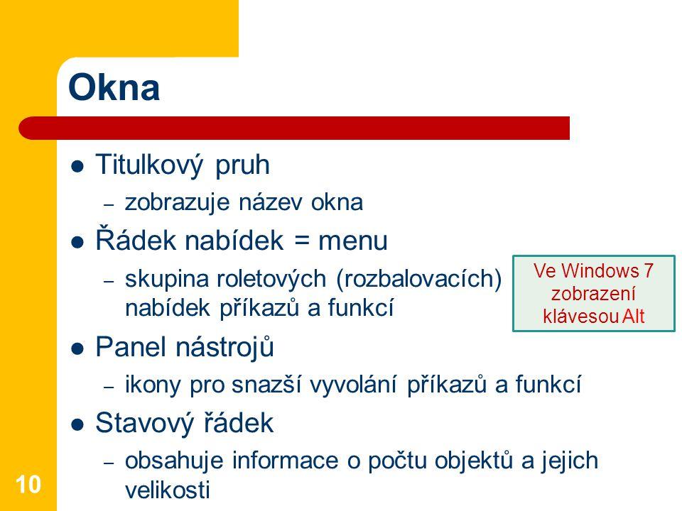 Okna Titulkový pruh – zobrazuje název okna Řádek nabídek = menu – skupina roletových (rozbalovacích) nabídek příkazů a funkcí Panel nástrojů – ikony p