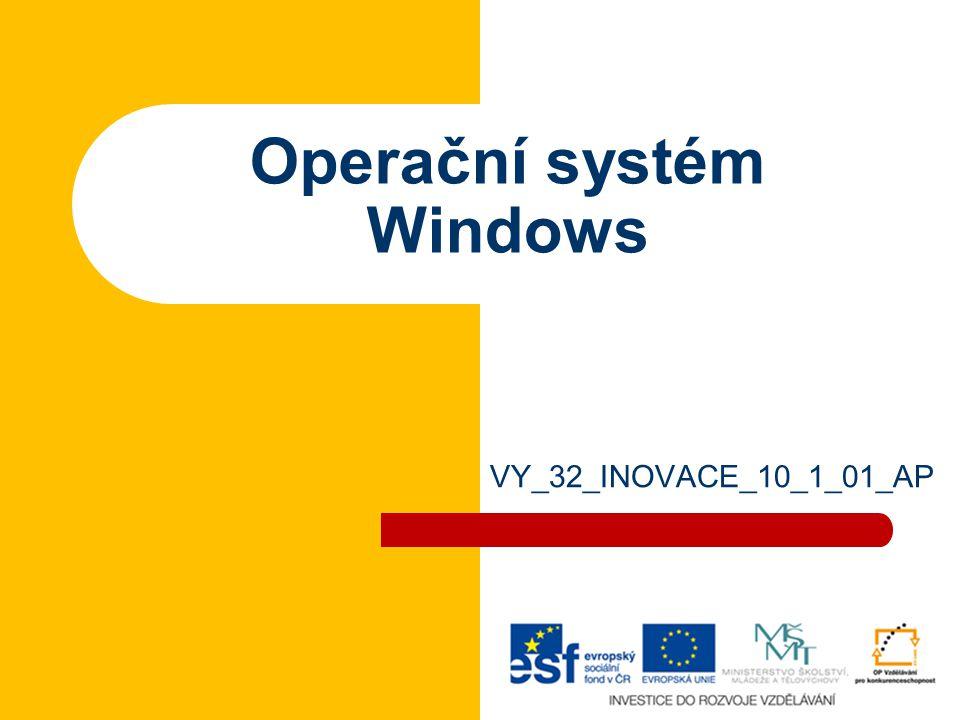 Operační systém Základní prostředí pro práci na počítači Spouštíme z něj další programy (aplikace) – kancelářské aplikace (Word, Excel, …) – grafické programy – počítačové hry –…–… Prostředí lze měnit (konfigurovat) podle potřeb uživatelů 3