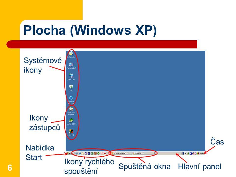Plocha (Windows XP) 6 Systémové ikony Ikony zástupců Nabídka Start Hlavní panel Ikony rychlého spouštění Čas Spuštěná okna
