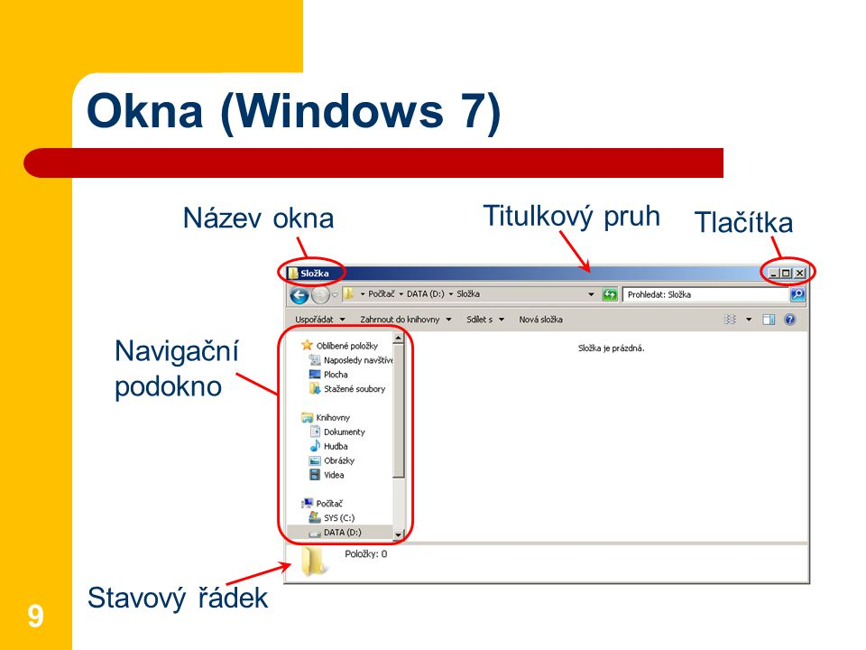Okna Titulkový pruh – zobrazuje název okna Řádek nabídek = menu – skupina roletových (rozbalovacích) nabídek příkazů a funkcí Panel nástrojů – ikony pro snazší vyvolání příkazů a funkcí Stavový řádek – obsahuje informace o počtu objektů a jejich velikosti 10 Ve Windows 7 zobrazení klávesou Alt