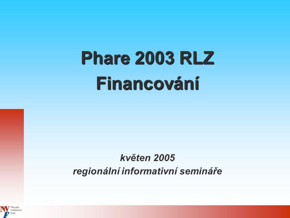 Phare 2003 RLZ Financování květen 2005 regionální informativní semináře