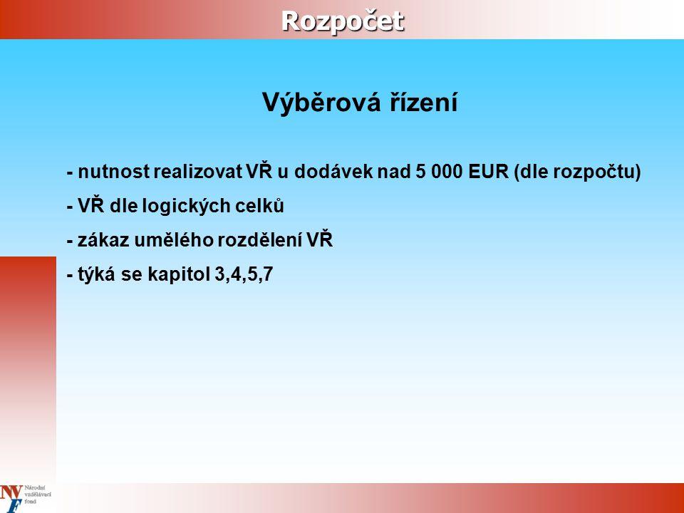 Rozpočet Výběrová řízení - nutnost realizovat VŘ u dodávek nad 5 000 EUR (dle rozpočtu) - VŘ dle logických celků - zákaz umělého rozdělení VŘ - týká se kapitol 3,4,5,7