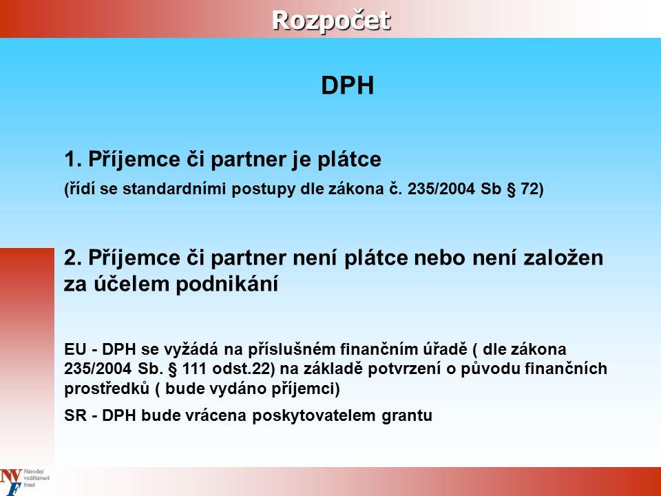 Rozpočet DPH 1. Příjemce či partner je plátce (řídí se standardními postupy dle zákona č. 235/2004 Sb § 72) 2. Příjemce či partner není plátce nebo ne