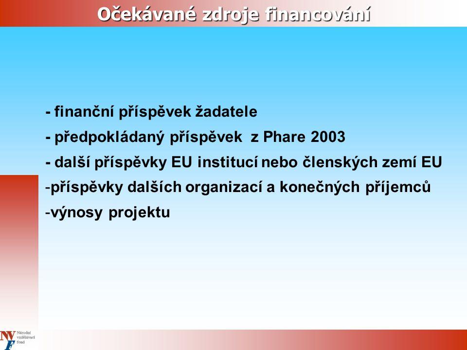 Očekávané zdroje financování - finanční příspěvek žadatele - předpokládaný příspěvek z Phare 2003 - další příspěvky EU institucí nebo členských zemí EU -příspěvky dalších organizací a konečných příjemců -výnosy projektu