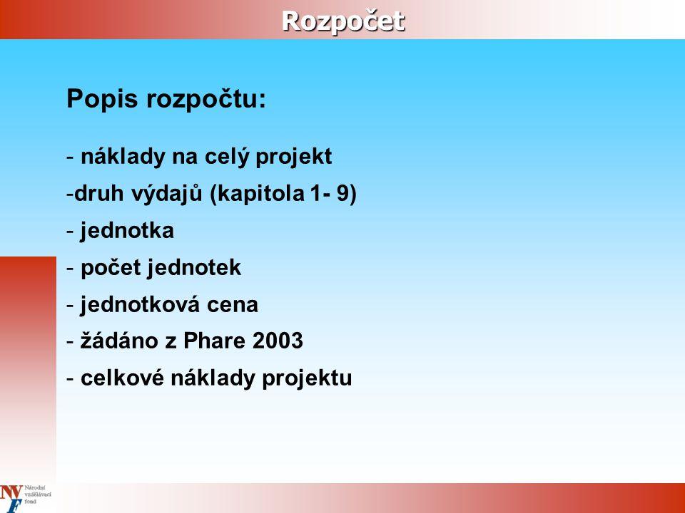 Rozpočet Popis rozpočtu: - náklady na celý projekt -druh výdajů (kapitola 1- 9) - jednotka - počet jednotek - jednotková cena - žádáno z Phare 2003 - celkové náklady projektu