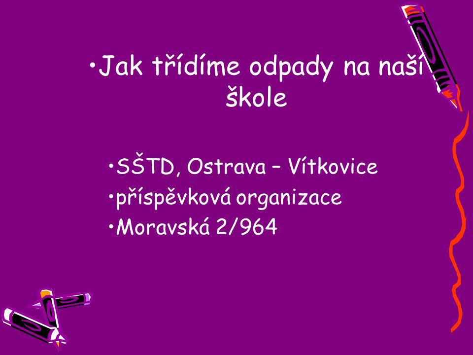 Jak třídíme odpady na naší škole SŠTD, Ostrava – Vítkovice příspěvková organizace Moravská 2/964