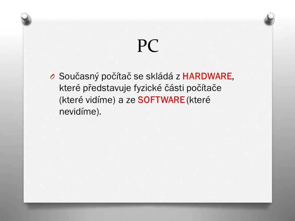 PC O Současný počítač se skládá z HARDWARE, které představuje fyzické části počítače (které vidíme) a ze SOFTWARE (které nevidíme).