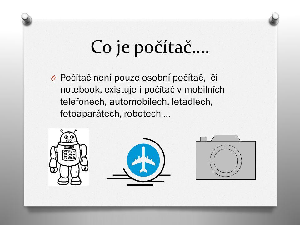 Co je počítač…. O Počítač není pouze osobní počítač, či notebook, existuje i počítač v mobilních telefonech, automobilech, letadlech, fotoaparátech, r