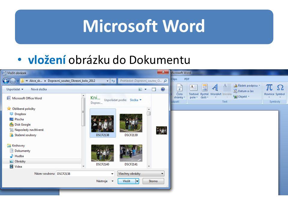 Microsoft Word vložení obrázku do Dokumentu