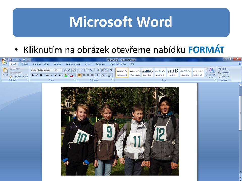 Microsoft Word Kliknutím na obrázek otevřeme nabídku FORMÁT