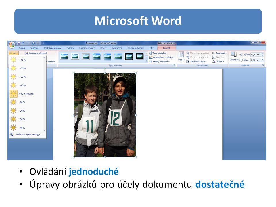 Microsoft Word Ovládání jednoduché Úpravy obrázků pro účely dokumentu dostatečné