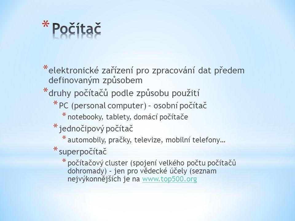 * Hardware – technické vybavení počítače * komponenty (části počítače) * periferie (zařízení připojená k počítači) * Software – programové vybavení počítače * BIOS * operační systém * aplikace * HW a SW jsou nedílné součásti počítače a nelze je použít samostatně!