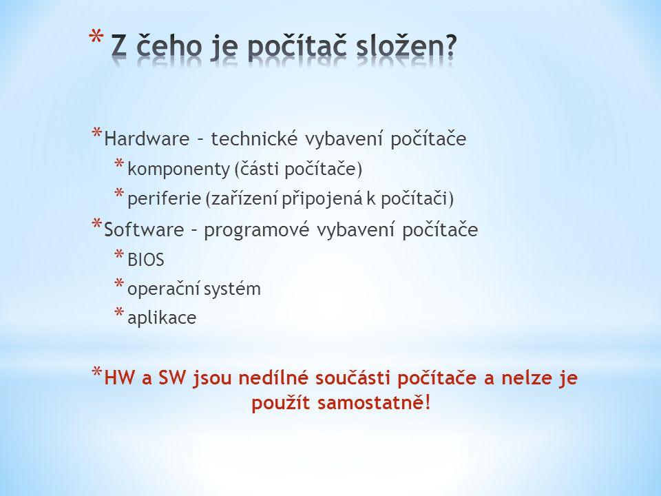 * Hardware – technické vybavení počítače * komponenty (části počítače) * periferie (zařízení připojená k počítači) * Software – programové vybavení po