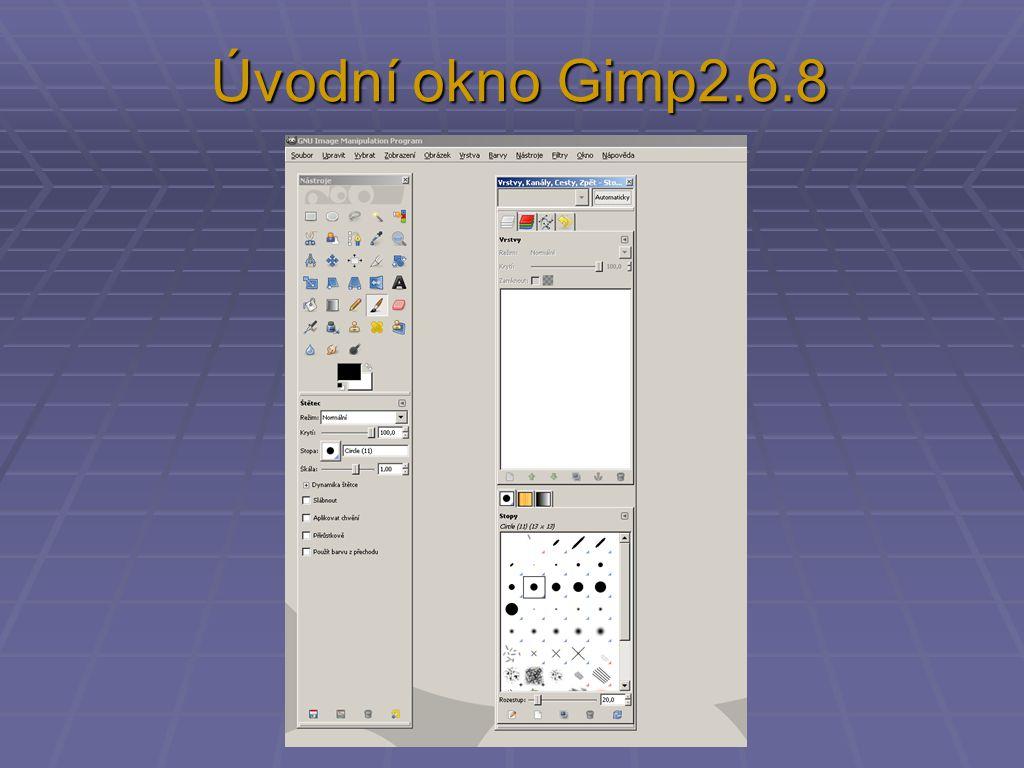 Úvodní okno Gimp2.6.8